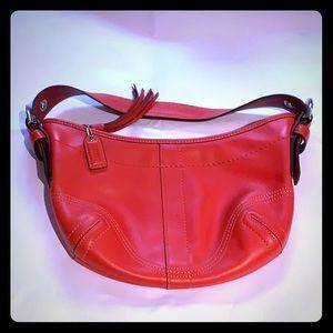 COACH Vintage Red Leather S Soho Hobo Shoulder Bag